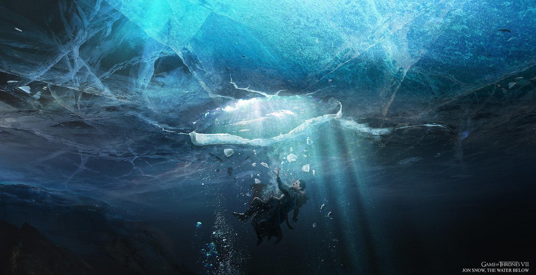 Jon Nieve cae en el hielo Temporada 7 - 30 imágenes de Concept Art de Juego de Tronos Sorprendentes