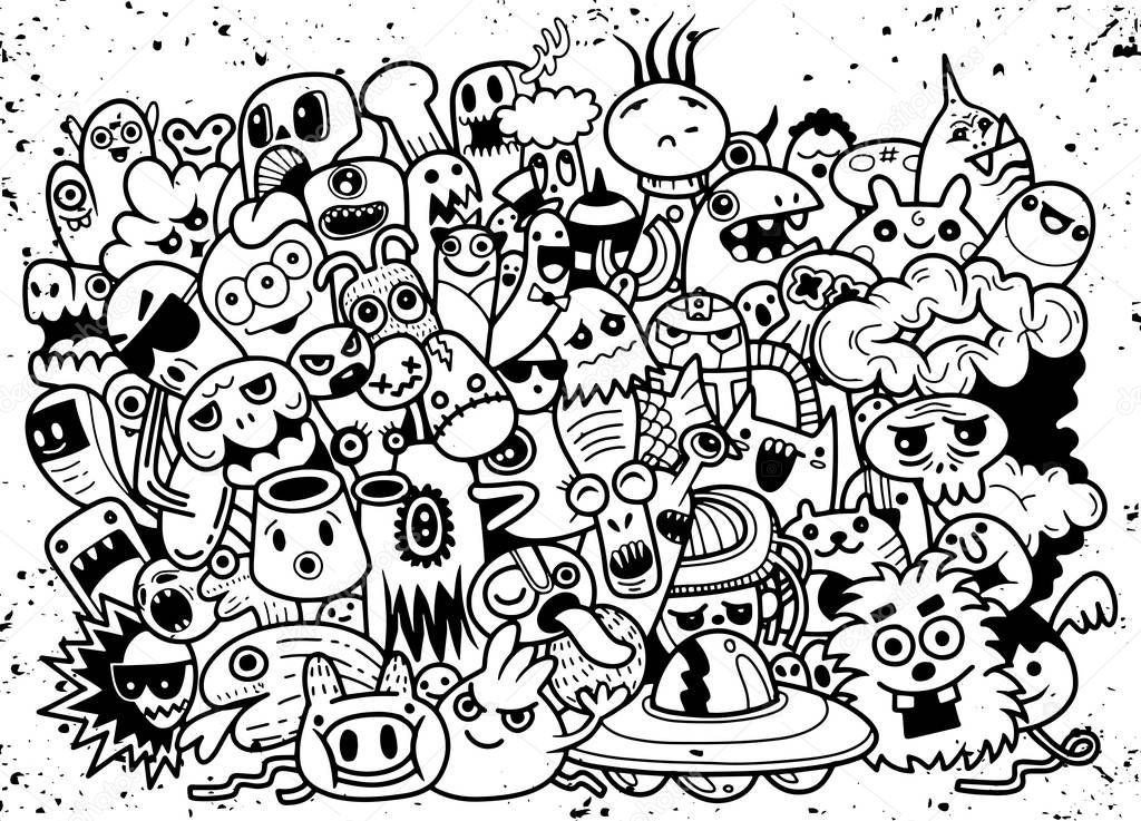 depositphotos 198629152 stock illustration funny monsters pattern coloring book - Tendencias Diseño Gráfico 2019