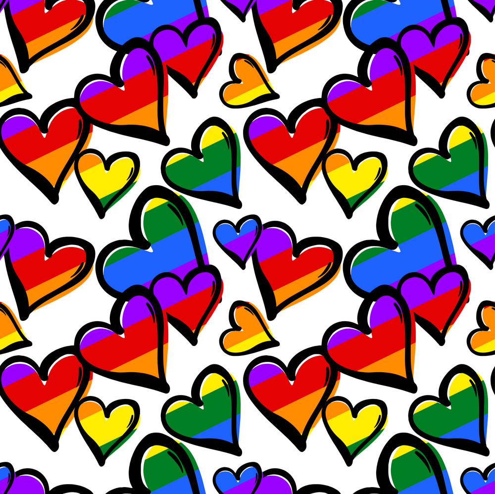 gay pride rainbow colored hearts seamless pattern vector 16151157 - Tendencias Diseño Gráfico 2019