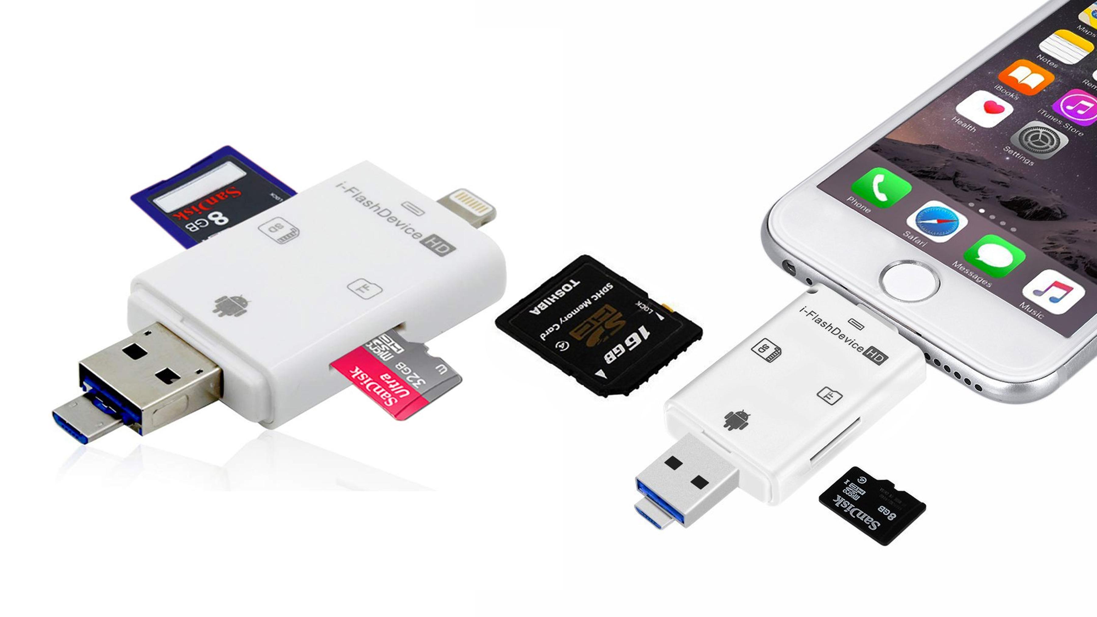 Adaptador con lector para tarjetas externas Okapia - Accesorios para tus Fotografías con Celular