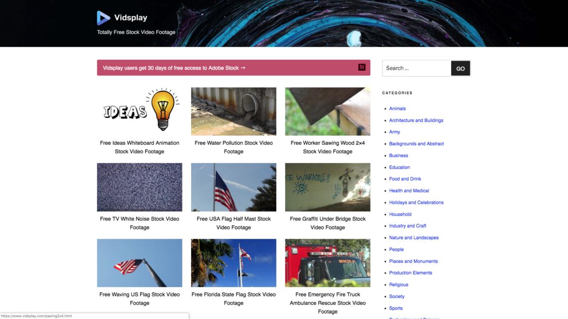 Vidsplay e1553722908381 - 9 Bancos de videos gratuitos para tus proyectos